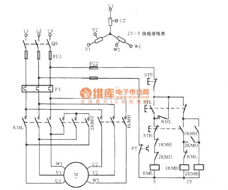 Three-phase motor double speed 2Y / Y connection speed