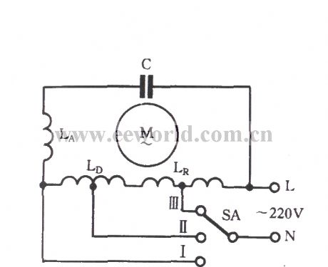 Single-phase motor winding tap L-1 connection three-speed