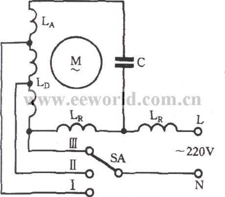 Single-phase motor winding tap H connection three-speed
