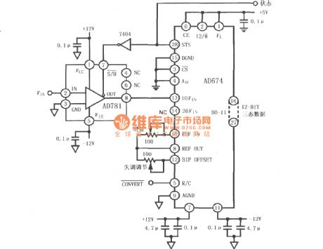 Interface circuit of sample and hold amplifiers AD781 and