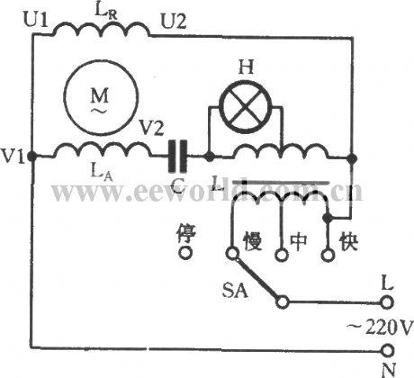 Single-phase motor impedance with indicator light speed