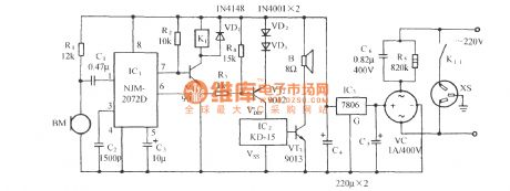 Voice-activated music outlet circuit 1 using NJM2072D