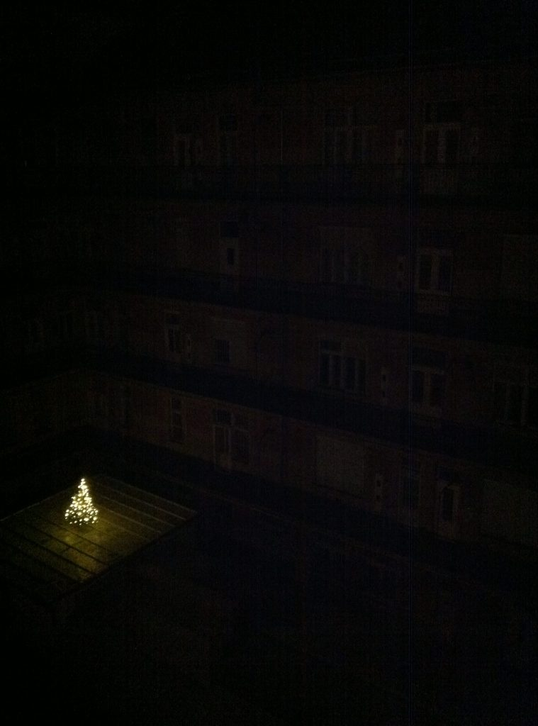 Christmas tree on a roof
