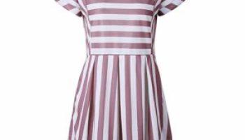 3b2ab1ff6f65 ChongXiao Women Striped Dress Casual Cute Short Sleeve O-Neck Mini Summer  Dresses for Women