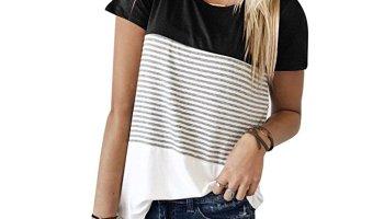 27494da81e5d5 YunJey Short Sleeve Round Neck Triple Color Block Stripe T-Shirt Casual  Blouse