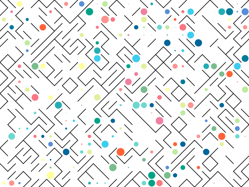 10 Print variation with colored dots p5js