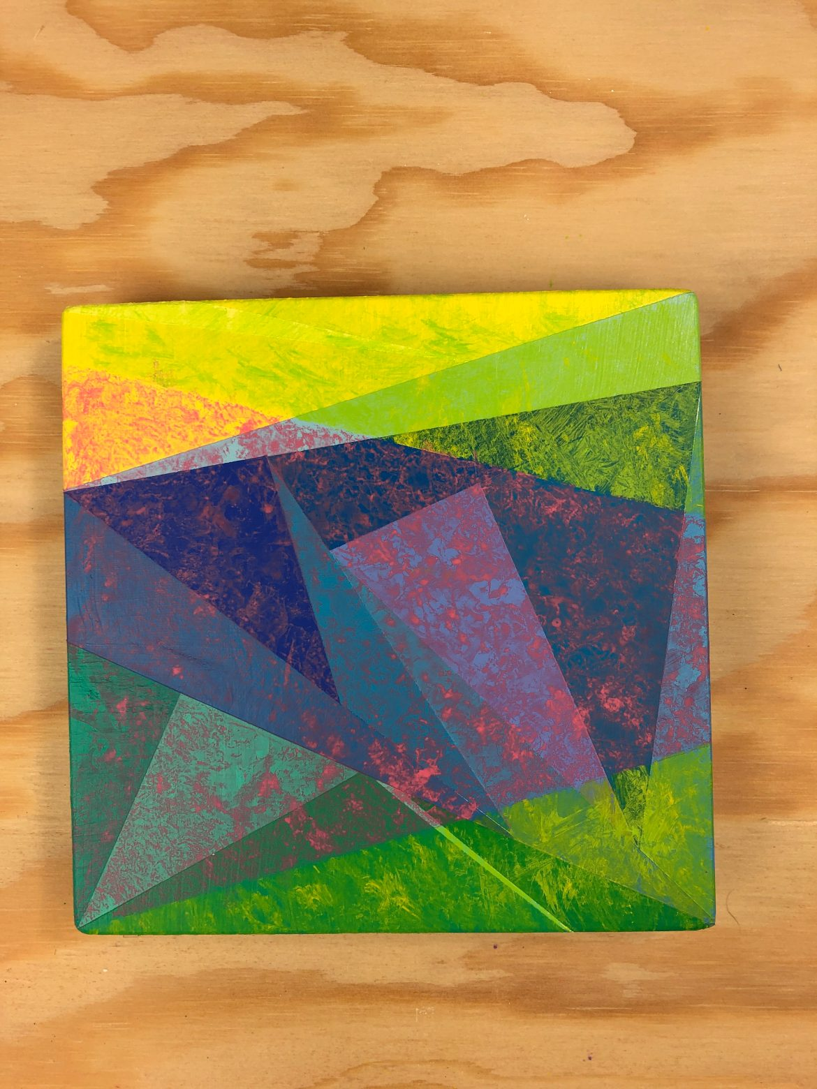 Hard Edge Abstract Acrylic Triangle Painting Accident