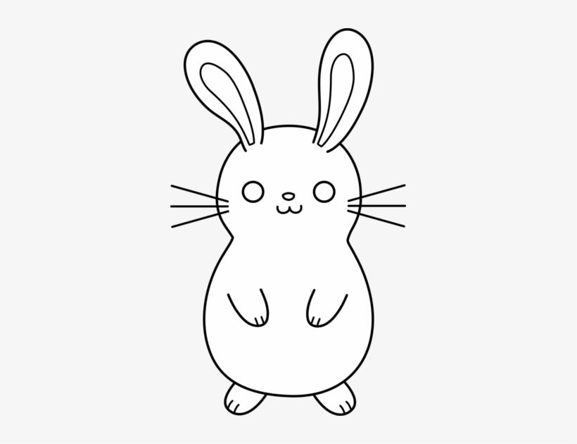 Bunny Clipart Chubby Bunny Rabbit Cartoon Black And White Png Image Transparent Png Free Download On Seekpng