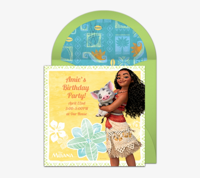 moana birthday party reminder card png