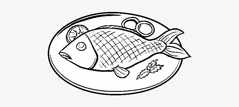 Plates Clipart Fried Fish Fried Fish Black And White Png Image Transparent Png Free Download On Seekpng