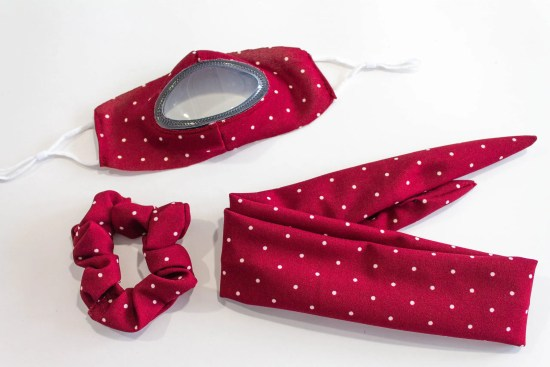 See Me Clear cloth mask accessories kit red with white dots