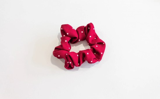 Hair scrunchie red with white dots