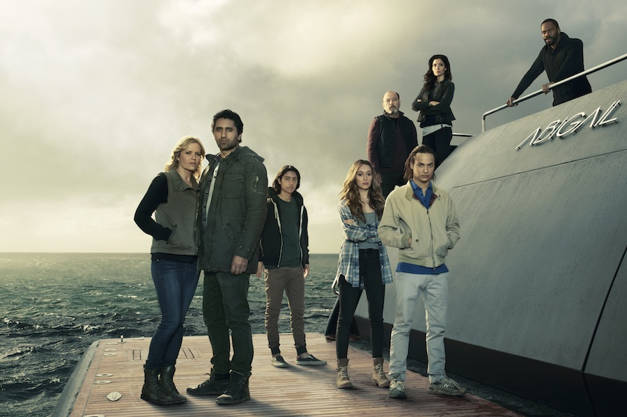 Kim Dickens as Madison Clark, Cliff Curtis as Travis Manawa , Lorenzo James Henrie as Chris Manawa, Alycia Debnam-Carey as Alicia Clark, Rube Blades as Daniel Salazar, Frank Dillane as Nick Clark, Mercedes Mason as Ofelia Salazar and Colman Domingo as Victor Strand in Fear the Walking Dead, Season 2, 2016.  Photo credit: Frank Ockenfels 3/AMC