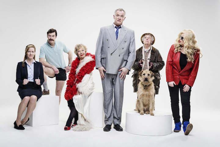 Miss Lipsey (Jeany Spark), Brian (Mike Wozniak), Mum (Gwyneth Powell), Dan (Greg Davies), Nesta (Stephanie Cole), Jo (Roisin Conaty). Image: Channel 4 / Shamil Tanna
