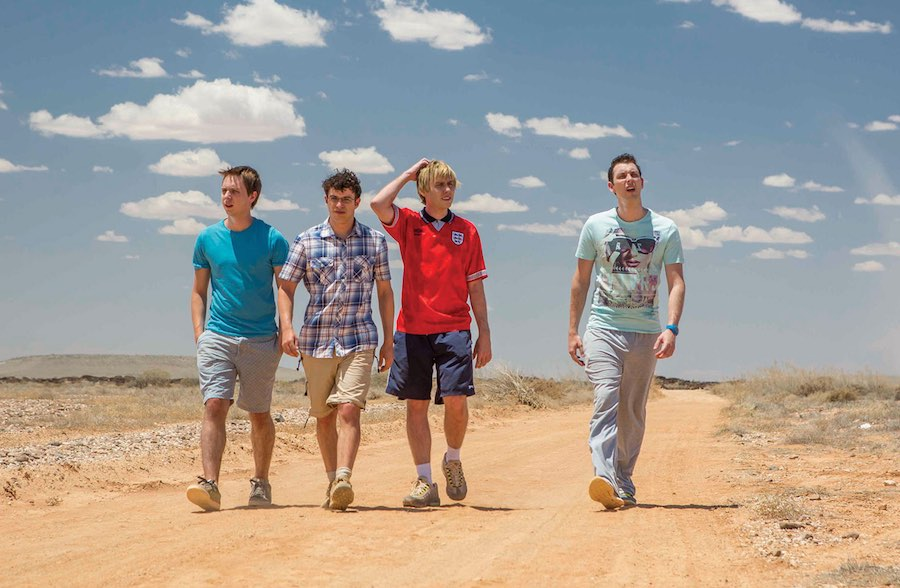 Harrison (right) with former Inbetweeners co-stars in The Inbetweeners Movie 2.