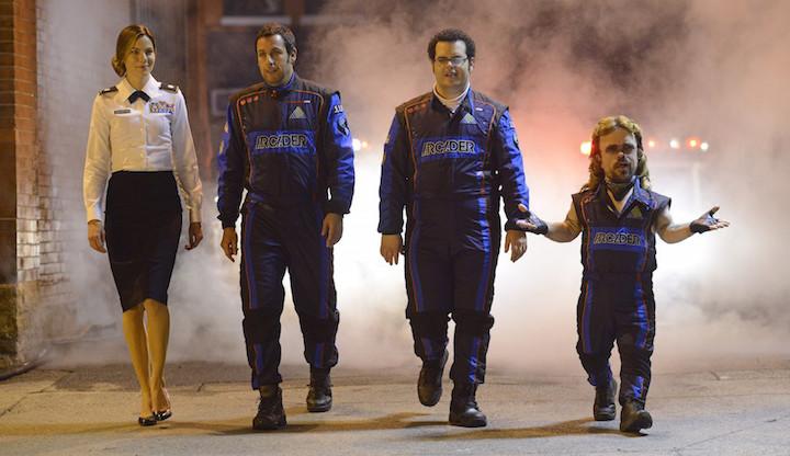 Violet Van Patten (Michelle Monaghan), Sam Brenner (Adam Sandler), Ludlow Lamonsoff (Josh Gad) and Eddie Plant (Peter Dinklage) in Columbia Pictures' PIXELS.