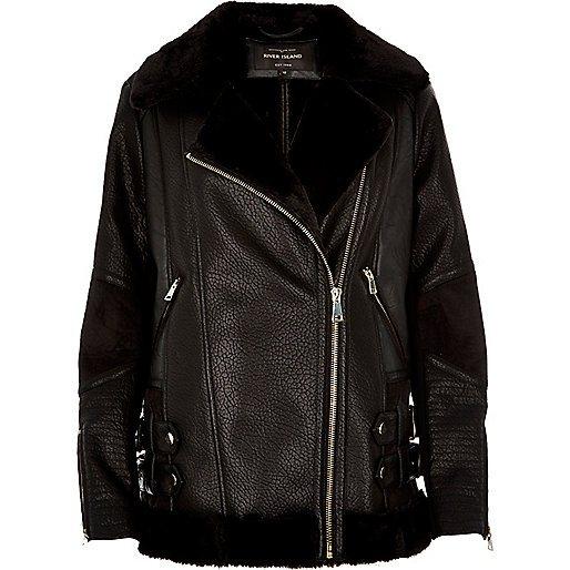 river-island-black-leather-look-aviator-jacket