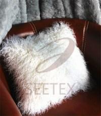 Mongolian lamb faux fur pillow