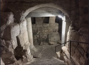 Ancient and modern structures at the base of ancient steps leading into the cave church (© American Friends of the Episcopal Diocese of Jerusalem)
