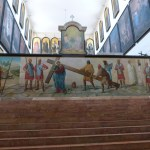 Depiction of Jesus carrying his cross, on top step of stairs to original Holy Sepulchre church (Seetheholyland.net)