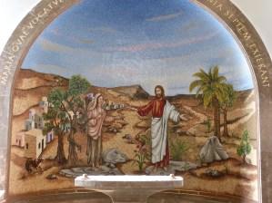 Jesus casting seven demons from Mary Magdalane, mosaic in Magdala church (Seetheholyland.net)