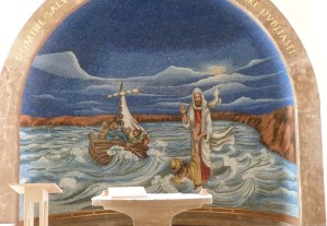 Jesus rescuing Peter from the Sea of Galilee, mosaic in Magdala church (Seetheholyland.net)