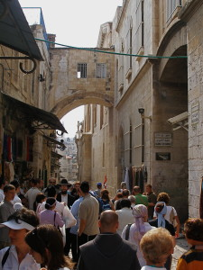 Looking westward to Ecce Homo Arch, with Sisters of Zion convent at right (Seetheholyland.net)