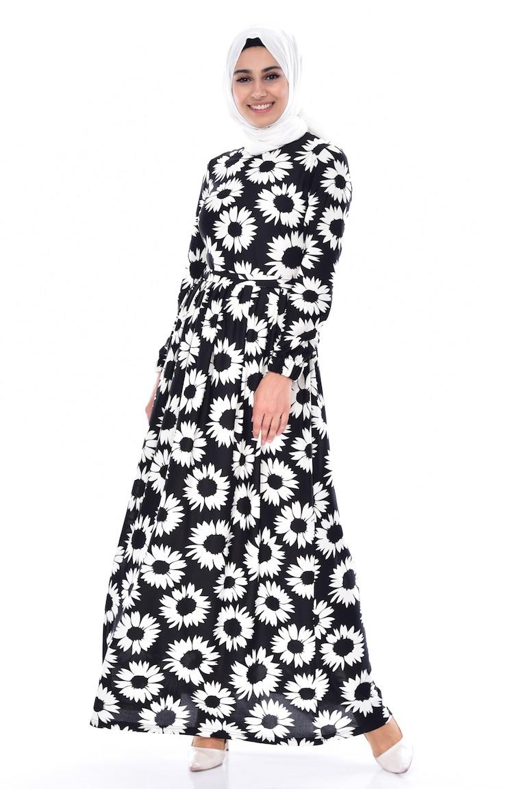 Daisy Patterned Dress 7005-01 Black 7005-01