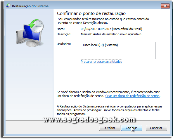 Restauração do Sistema no windows 7