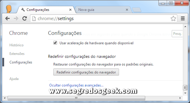 Redefinir configurações do navegador google chrome