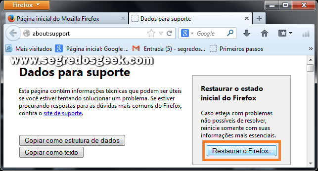 Restaurar o Firefox no browser