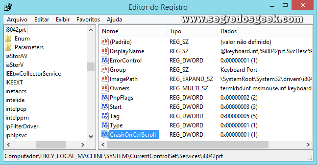 imagem: Editor de Registro Windows 8