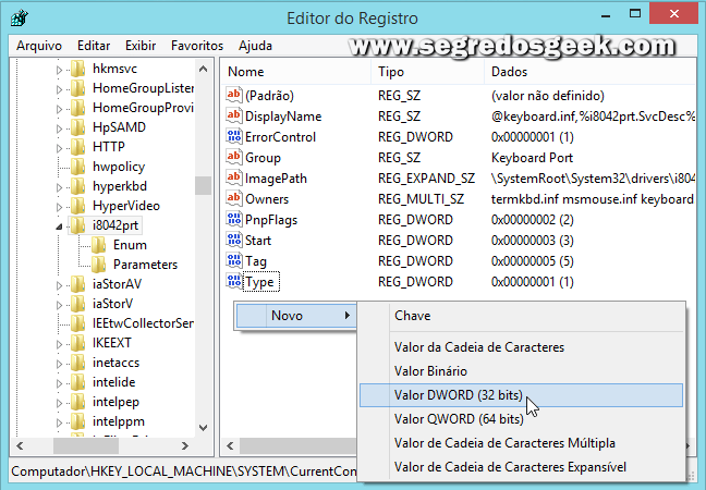 imagem: Editor de registro do Windows.