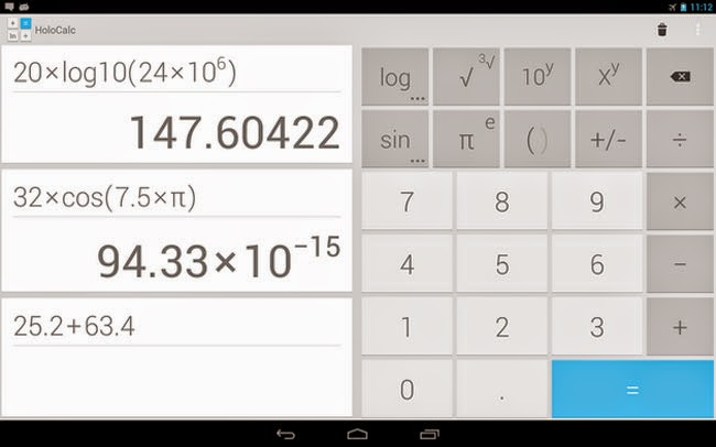 Melhores aplicativos para tablet Android HoloCalc Scientific Calculator.
