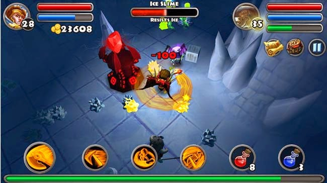 Melhor jogo hack and slash Android Dungeon Quest.