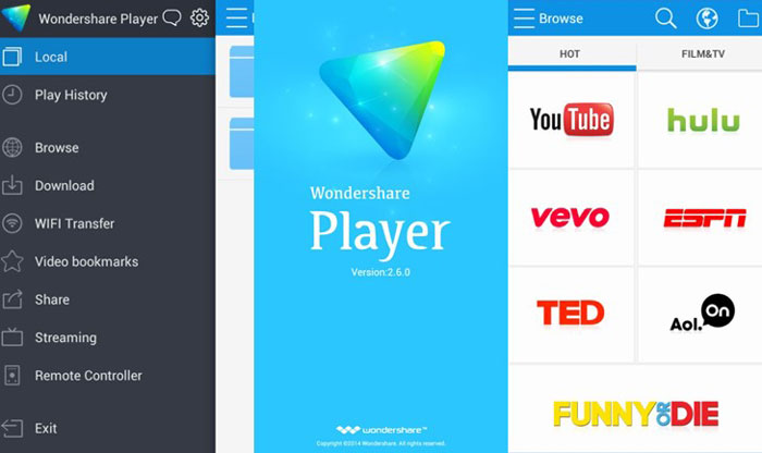 Melhores players de video para Android, Wondersshare Player.