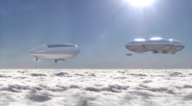Secondo la proposta HAVOC una serie di dirigibili connessi formerebbero degli habitat fluttuanti. Immagine: NASA