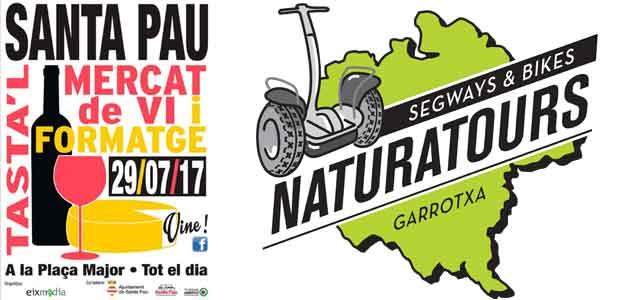mercato Segway Garrotxa Naturatours con vino e formaggio Santa Pau