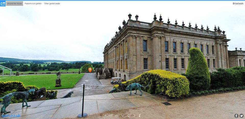 Chatsworth House garden 360-degree panoramic view virtual tour screenshot