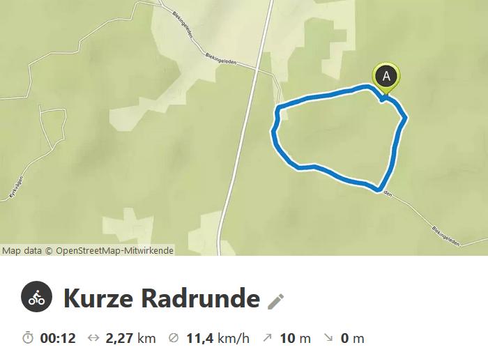 Screenshot mit Route auf der Landkarte und Daten