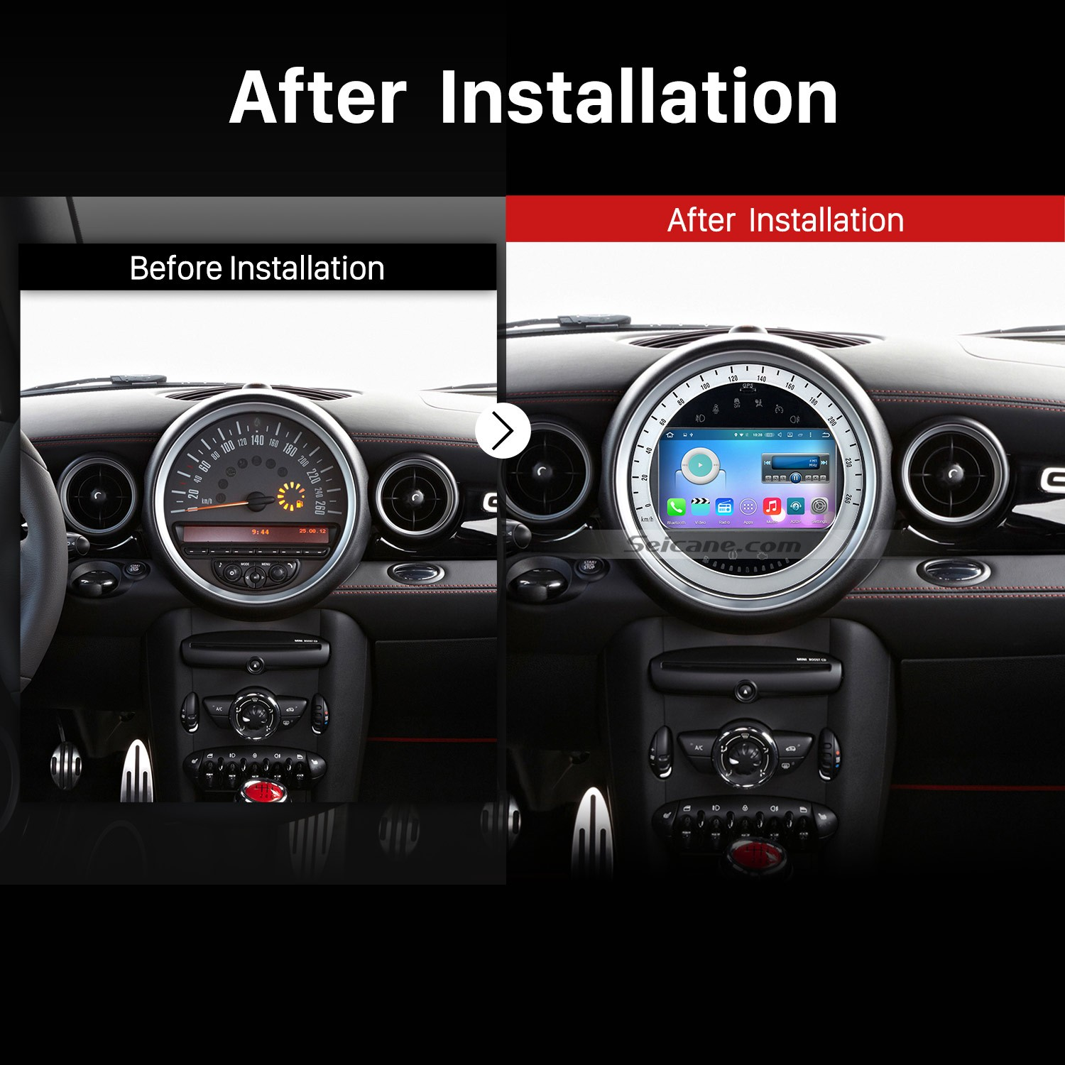 hight resolution of 2006 2013 bmw mini cooper gps bluetooth car stereo after installation