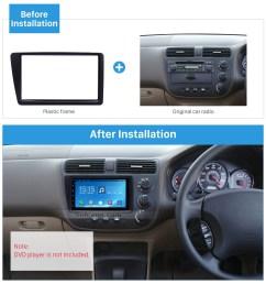 excellent black 2din 2001 2005 honda civic rhd car radio fascia installation trim dash kit dvd  [ 1500 x 1500 Pixel ]