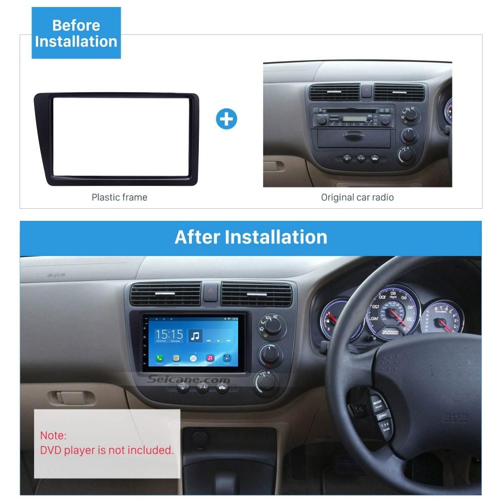 medium resolution of excellent black 2din 2001 2005 honda civic rhd car radio fascia installation trim dash kit dvd