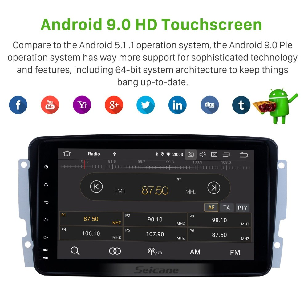 medium resolution of 8 inch android 9 0 2000 2005 mercedes benz c class w203 c180 c200 c220 c230 c240