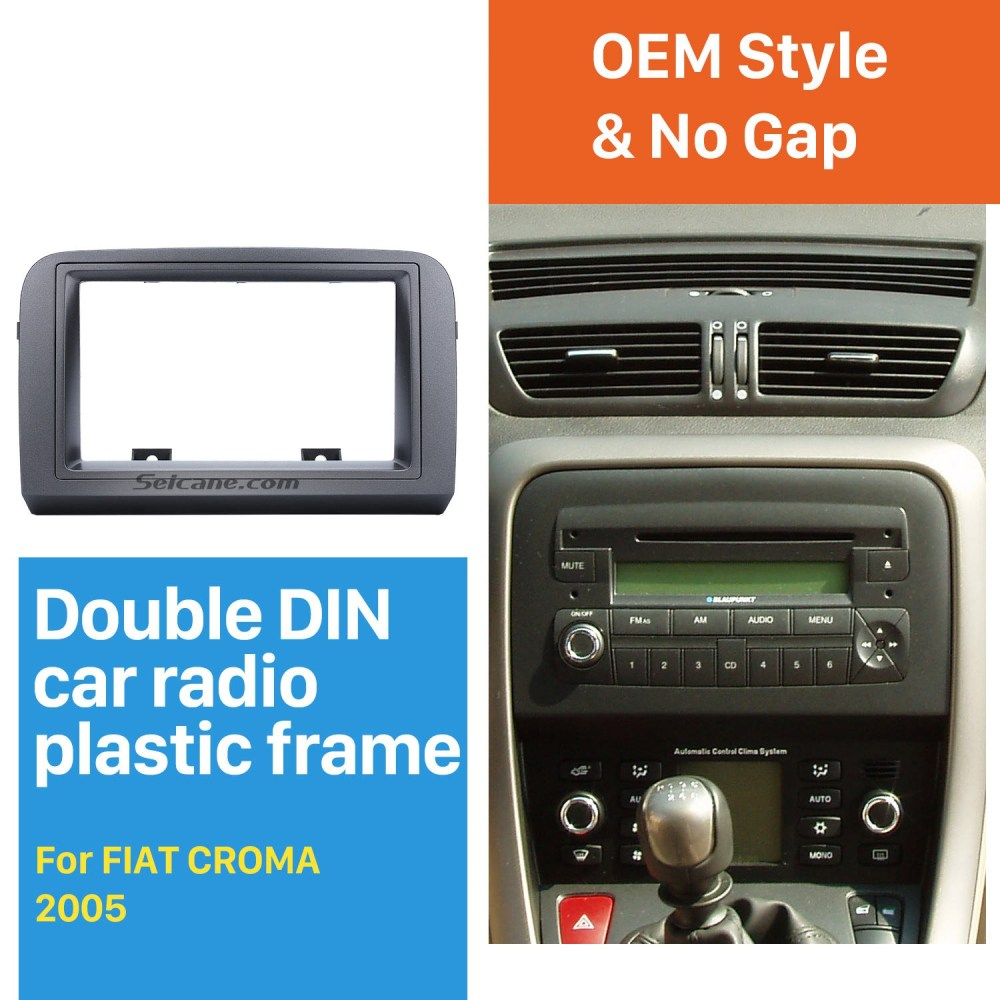 medium resolution of grey double din car radio fascia for 2005 fiat croma stereo dash cd frame panel trim installation kit