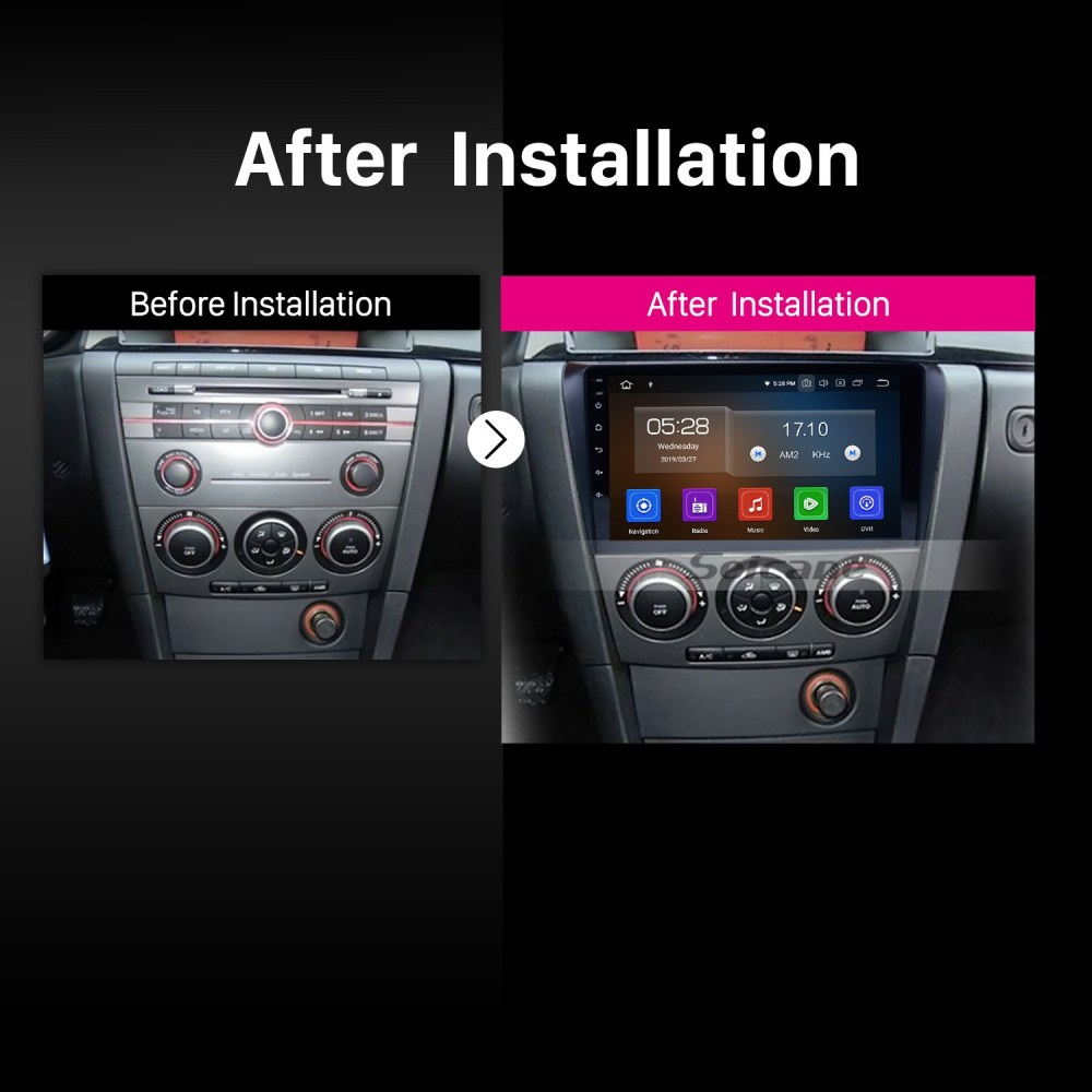medium resolution of all in one android 9 0 2004 2009 mazda 3 radio upgrade with in dash gps navigation