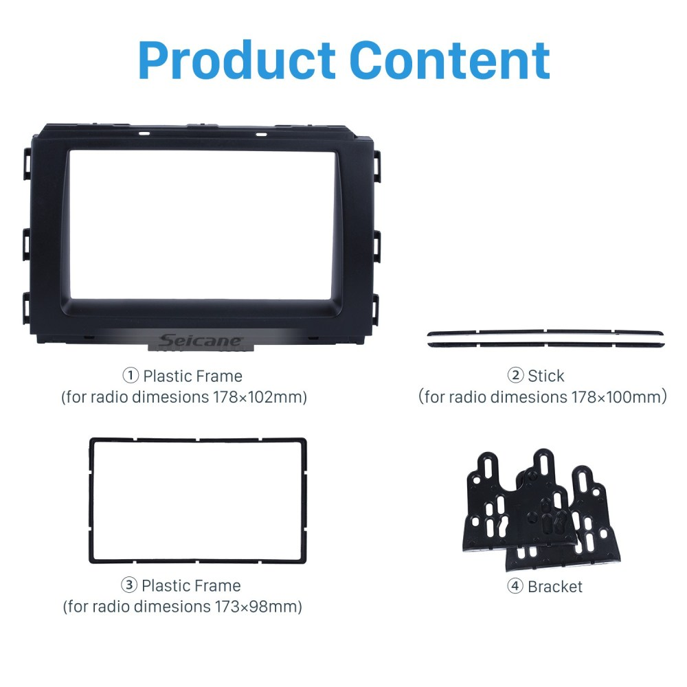 medium resolution of black double din car radio fascia for 2014 kia carnival sedona trim installation kit dvd frame