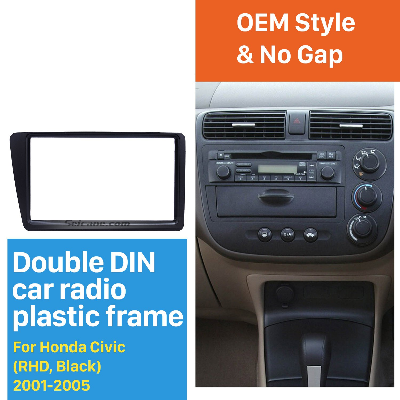 hight resolution of excellent black 2din 2001 2005 honda civic rhd car radio fascia installation trim dash kit dvd