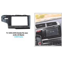 matt black 2 din 2013 2014 2015 honda fit jazz lhd car radio fascia in dash mount kit fitting frame auto stereo [ 1500 x 1500 Pixel ]