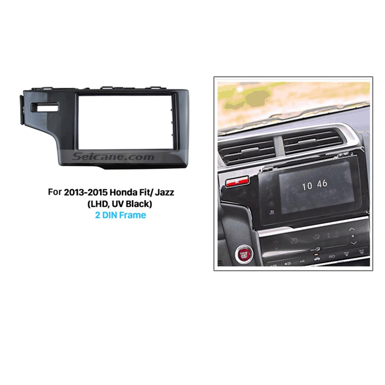 hight resolution of matt black 2 din 2013 2014 2015 honda fit jazz lhd car radio fascia in dash mount kit fitting frame auto stereo